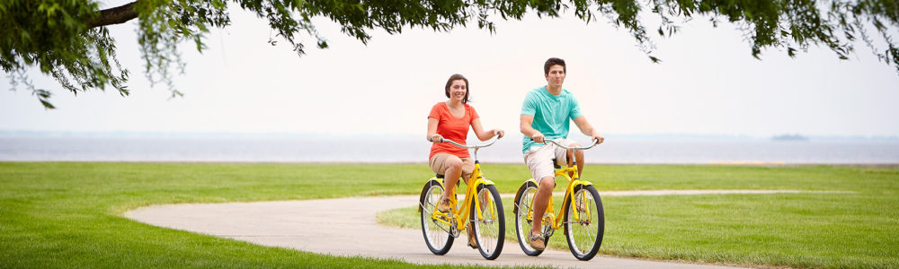 A couple biking