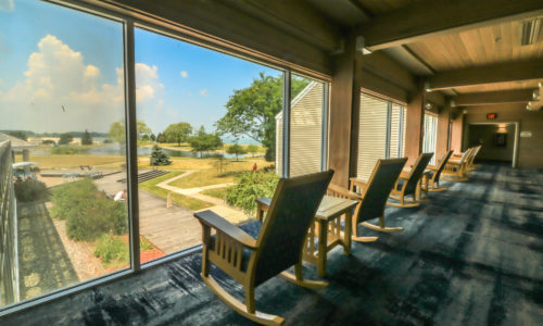Chairs with a view of the Maumee Bay courtyard