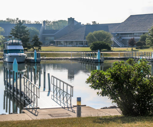 A docked boat in the Maumee Bay Marina
