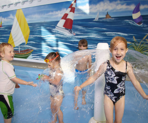 Children playing in a waterpark