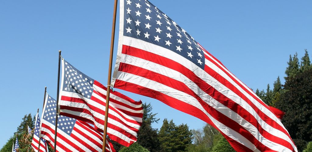 American Flags flying in the wind