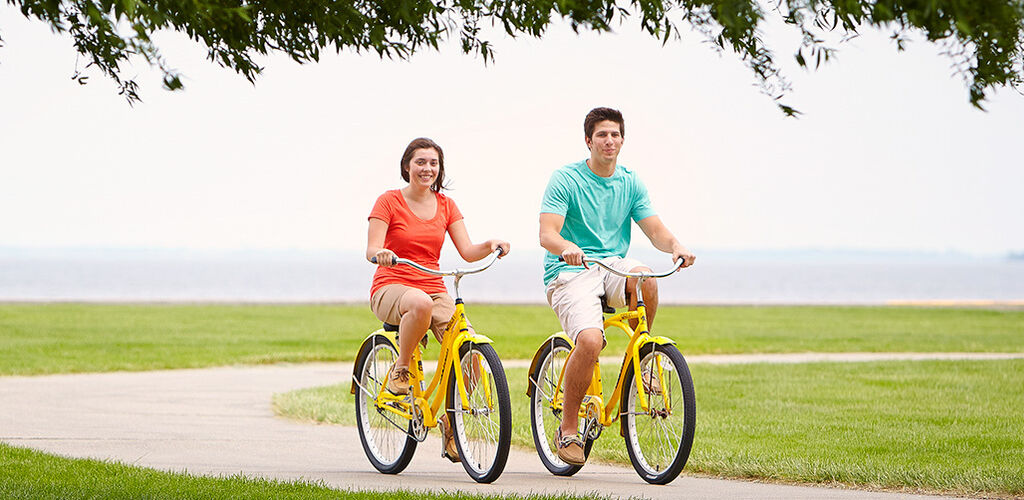A couple biking